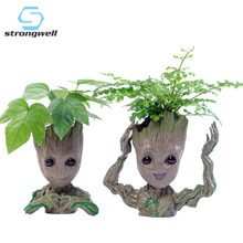 Strongwell Baby Groot Pot Bunga Pot Bunga Pot Patung Manusia Pohon Lucu Model Mainan Pena Pot Taman Pot Bunga Hadiah(China)
