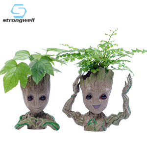 Strongwell Baby Groot Flowerpot Flower Pot Planter Figurines Tree Man Cute Model Toy Pen Pot Garden Planter Flower Pot Gift(China)