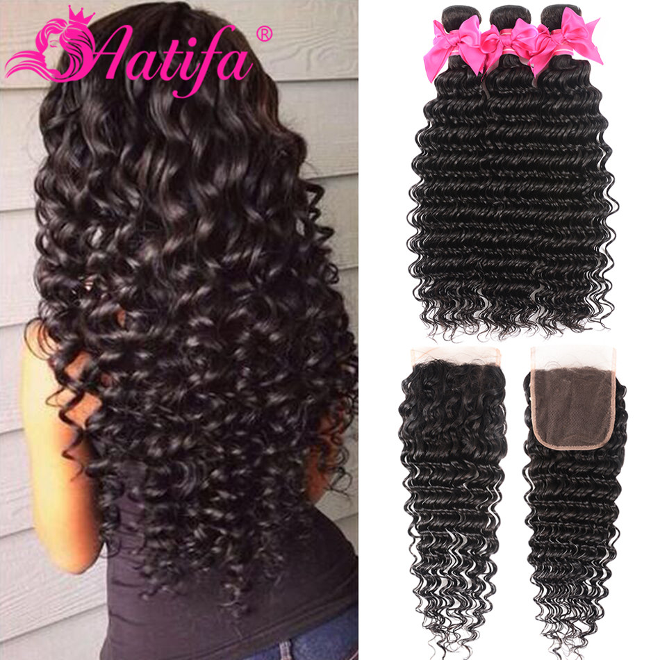 Brazilian Hair Extension 3 Bundles With Closure 100% Human Hair Bundles With Closure Remy Hair Deep Wave Bundles With Closure-in 3/4 Bundles with Closure from Hair Extensions & Wigs    1