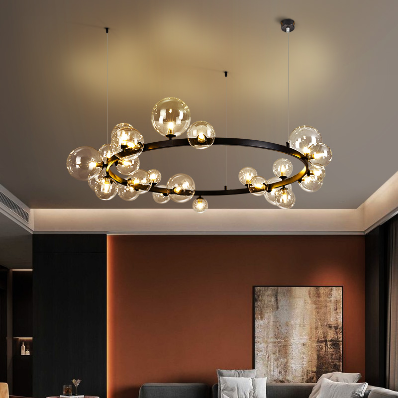 Vintage pendentif Led lampe pour salon salle à manger cuisine Loft Bar Restaurant noir décor à la maison nordique lustre boule verre lumière