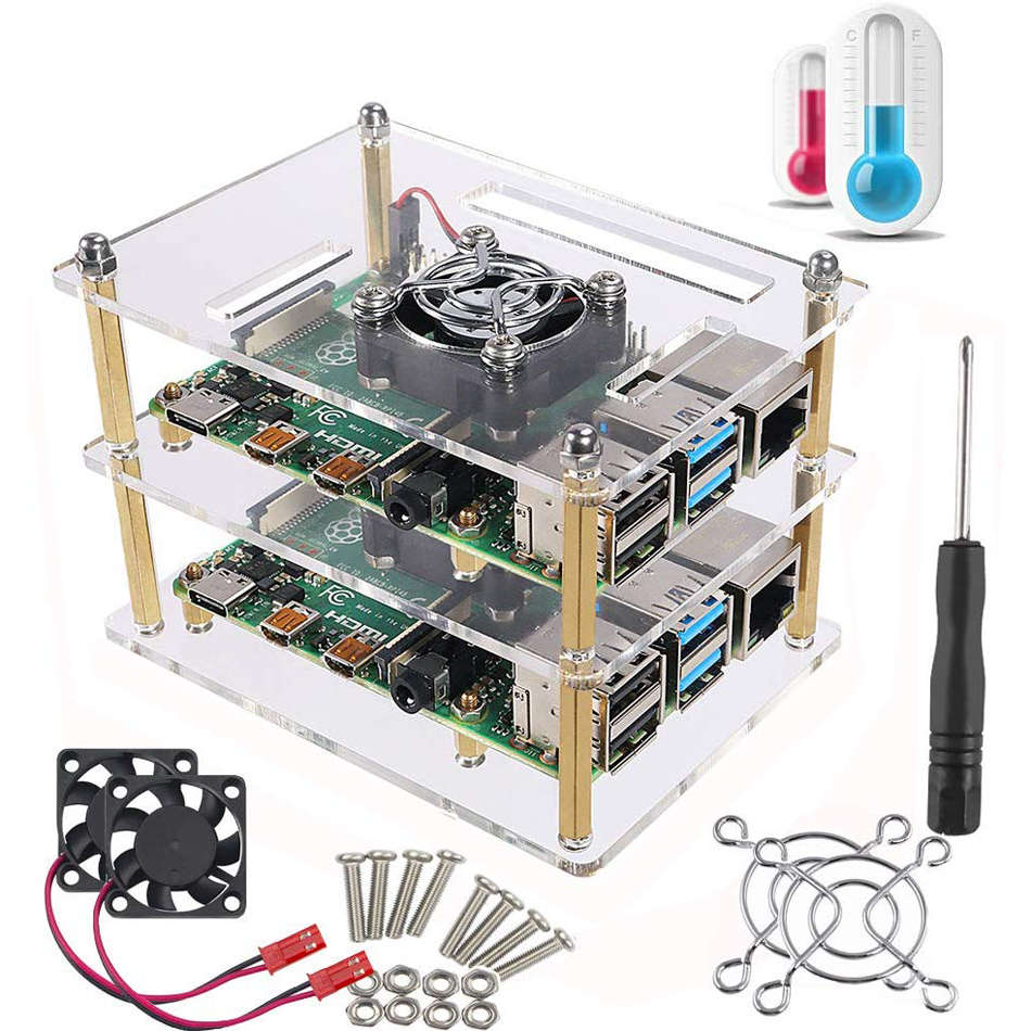 Raspberry Pi 4 B Case, Raspberry Pi Rack Cluster Case With Cooling Fan For Raspberry Pi 3 Model B+, Pi 2 Model B,Pi B+