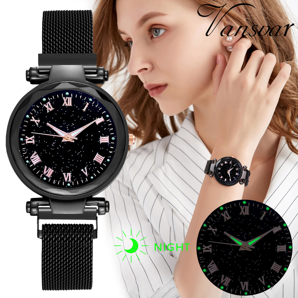 Luxury Brand Women Watches Ladies Starry Sky Magnet Buckle Clock Diamond Watch Relogio Feminino Wrist Watches For Women W50