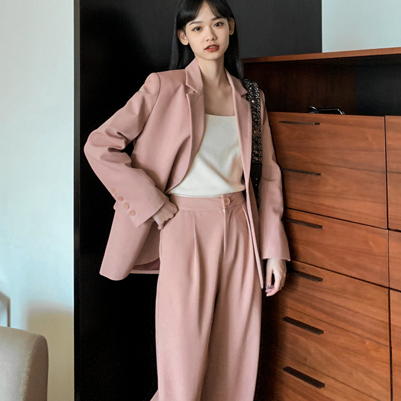 Trousers Women Suit Notched Long Casual Jacket Blazer Female+Button Wide Leg Pant 2 Piece 2020 Womens Autumn Spring Pink Outfits