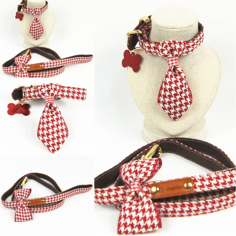 Red Qian Ge Niao Handmade Bowtie Pet Collar Bow Dog Traction Pet Supplies