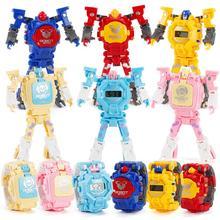 Мультфильм Робот трансформации наручные часы электронные деформации цифровой дисплей часы Подарки Развивающие игрушки для детей мальчиков и девочек