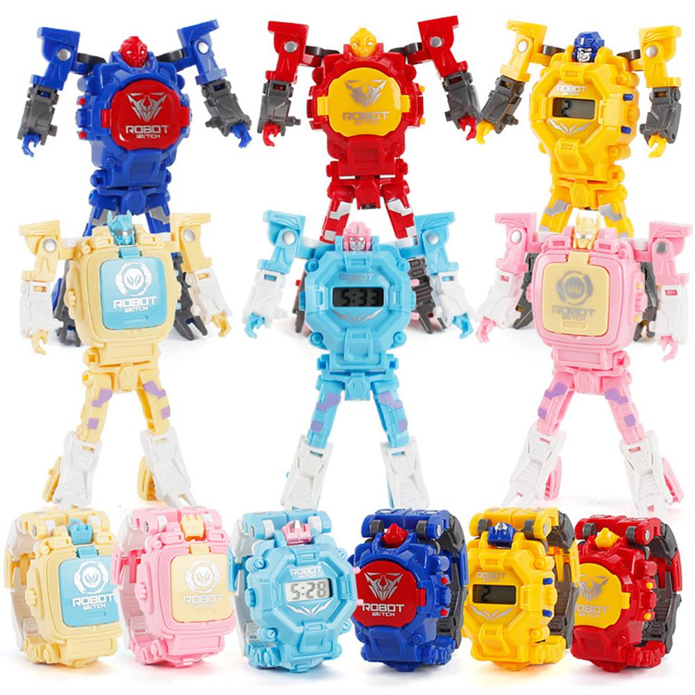 Cartoon Robot Transformation Wristwatch Electronic Deformation Digital Display Watch Gifts Educational Toys For Child Boy Girl