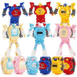 Cartoon Robot Transformation Wristwatch Electronic Deformation Digital Display Watch Gifts Educational Toys for Child Boy Girl