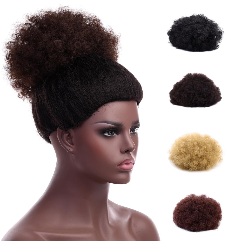 Silike Bun Hair-Bun Kinky-Hair On-Puff Afro Pony-Tail Drawstring Clip-In Synthetic Short