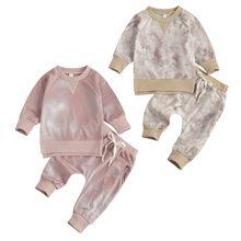 2 pçs bebê recém-nascido meninas meninos tie dye outfits, infantil manga longa em torno do pescoço pulôver + amarrar calças bolsos primavera outono