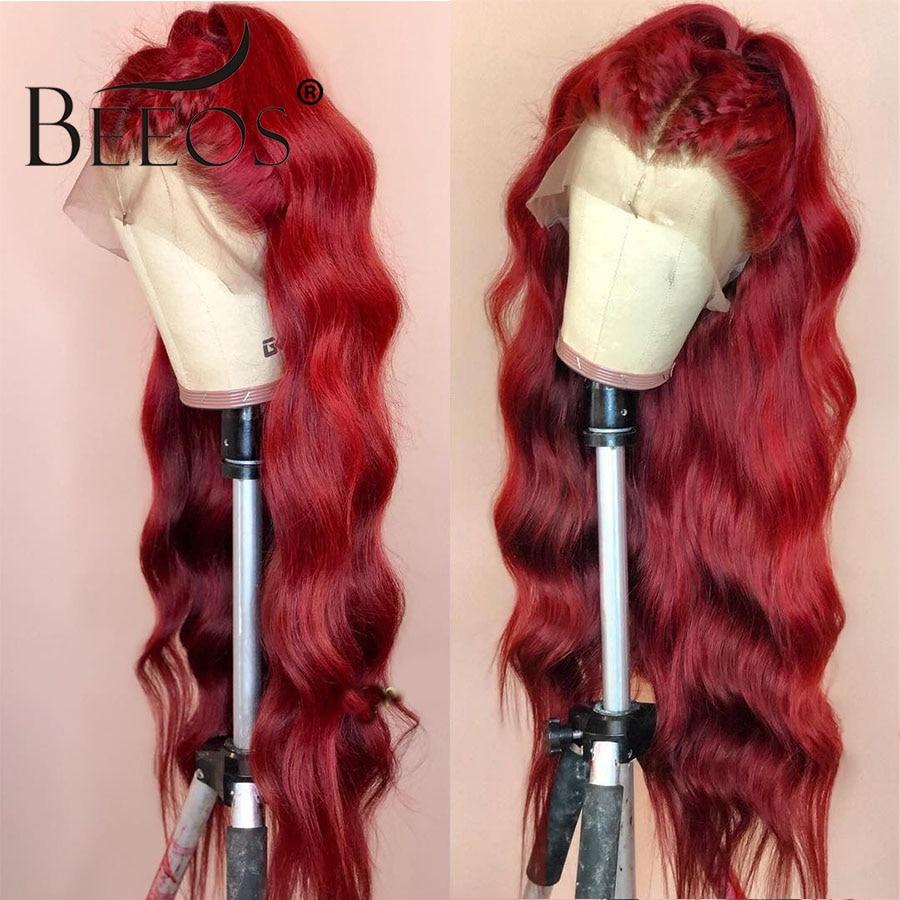 Beeos волнистые цветные красные парики 150% женские 13*6 кружевные передние человеческие волосы парики предварительно выщипанные глубокие разделенные бразильские Remy transapent HD кружева - 4