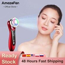 Amazeface ems beleza instrumento face lifting calor vermelho azul luz rosto mais limpo limpeza profunda dispositivo de cuidados com a pele em casa rosto massageador
