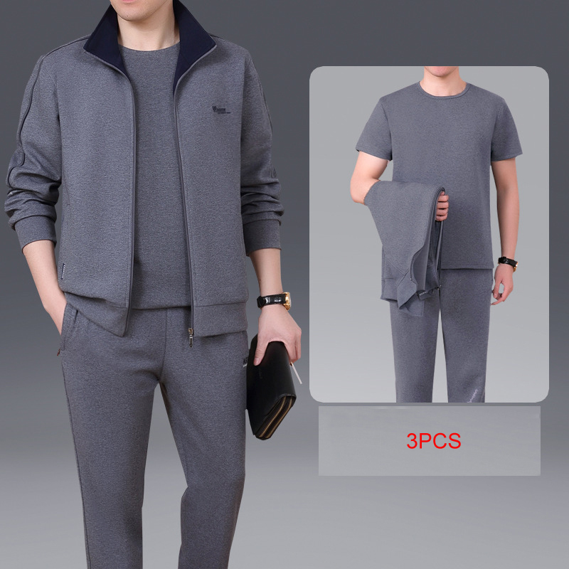 Men 3 Pieces Sportwear Suit Fitness Comfortable Jacket T Shirt Pants Men Good Quality Sporting Sets L-5XL Gym Brand Clothes Male