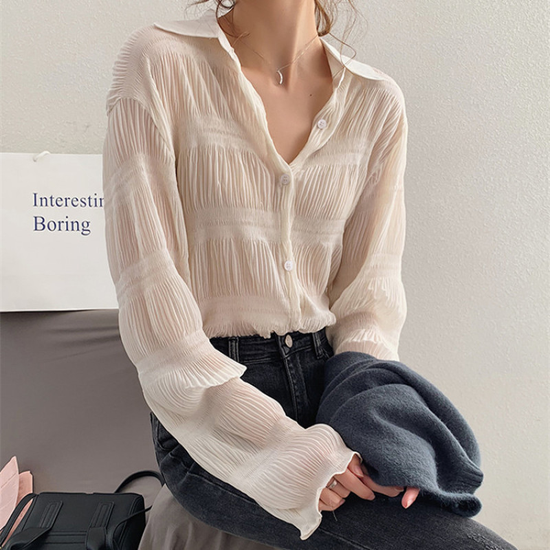 New 2020 Spring Vintage Elegant Women Chiffon Blouses Casual Long Sleeve Blusas Femme Turn-down Collar Solid Shirts Female Tops