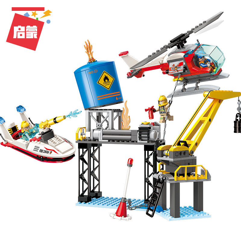 321Pcs Enlightenment 2806 Offshore Drilling Crisis Fire Fighting Series Boy Assembled Building Blocks and Toy Gifts