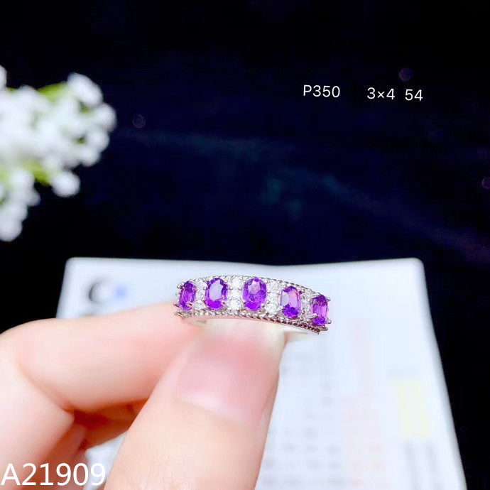 Ring Fine-Jewelry Natural Amethyst 925-Sterling-Silver Luxury Inlaid KJJEAXCMY Support-Detection