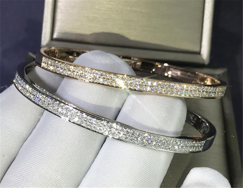 2020 Trendy Diamond Bangle 925 Sterling Silver Party Engagement Bangles Bracelets For Women Bridal Wedding Accessaries