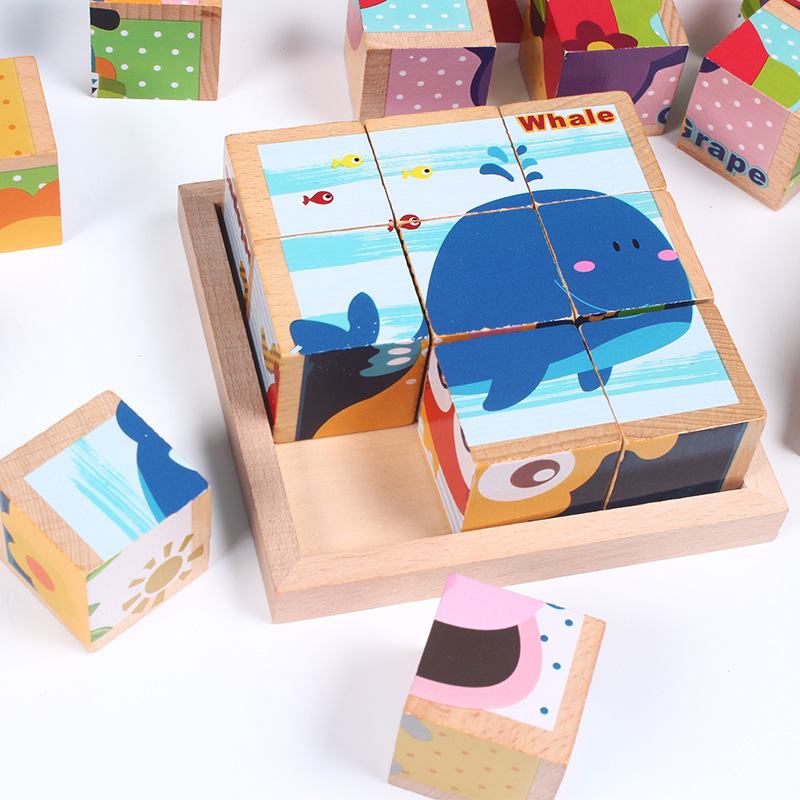 Six-face Picture Wooden Jigsaw 3D Puzzle Toys Children's Early Educational Toy Cube Jigsaw Puzzle Toys For Baby Kids Gifts