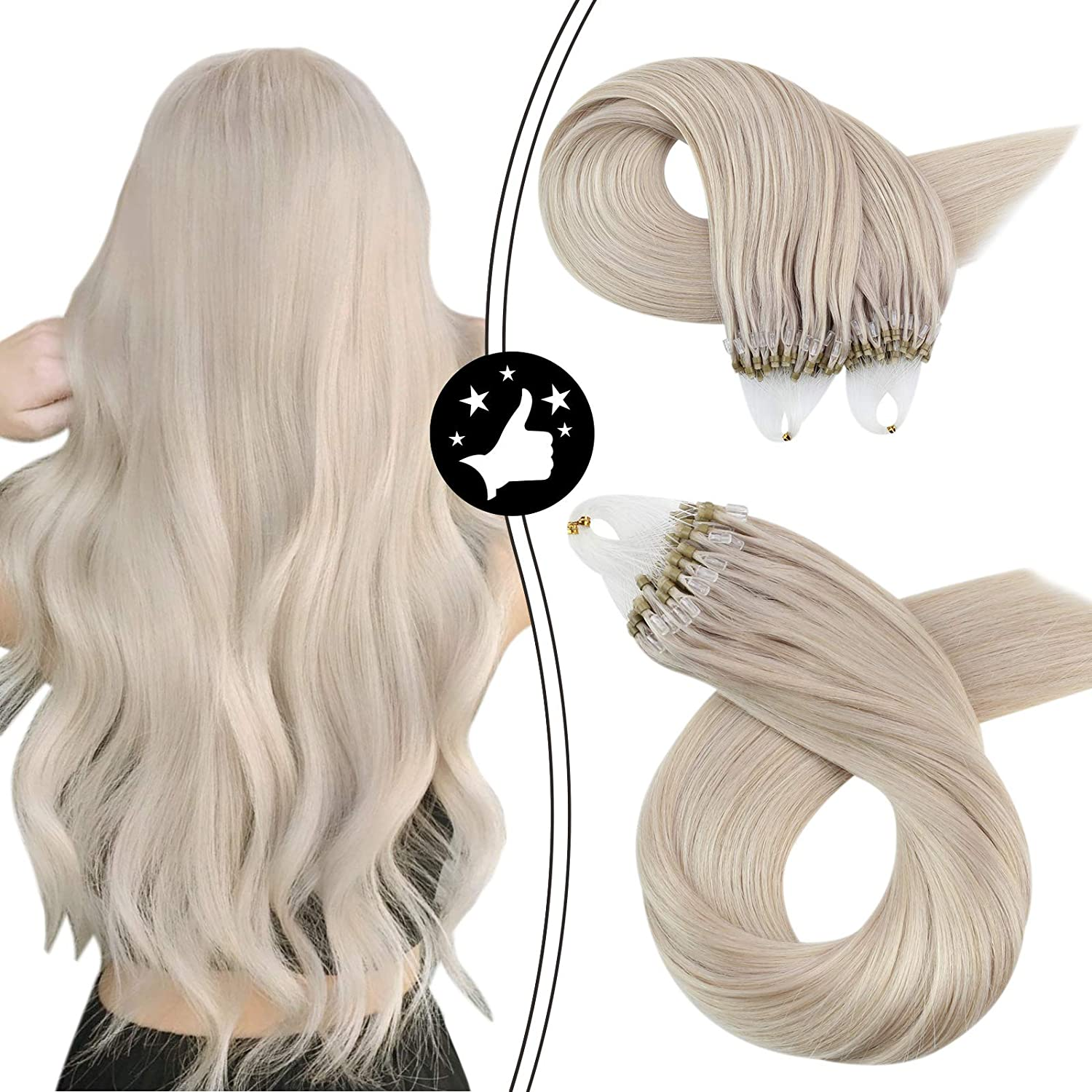 Micro Ring Human Hair Extensions Brazilian Hair 50G 50S Color #60A White Blonde Machine Remy Microlink Extensions For Women