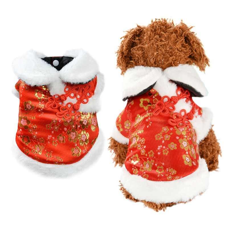 Style chinois chien vêtements hiver polaire manteau chaud veste pour petit chien moyen nouvel an Tang costume manteau pour bouledogue français chiot