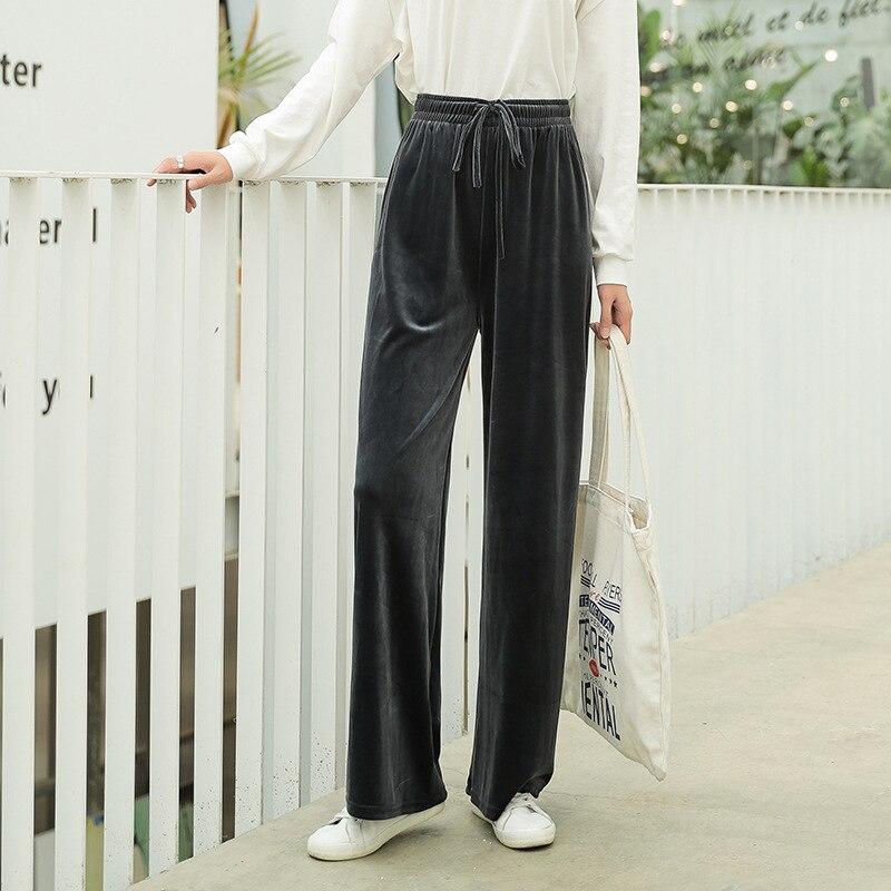 2019 Pleuche Autumn Winter Trousers Gold Velvet Floor Length   Pants   Women Casual High Waist   Pants   Bell Bottom   Wide     Leg     Pants