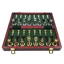 Easytoday Metal Glossy Golden and Silver Chess Pieces Solid Wooden Folding Board High Grade Professional Games Set