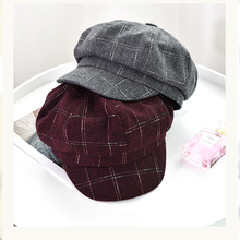 Hat women's autumn and winter octagonal cap British retro beret winter warm navy cap woolen plaid newspaper cap