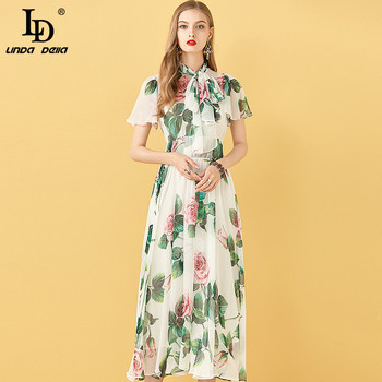 LD LINDA DELLA Fashion Runway Summer Chiffon Long Dress Women Vintage Short sleeve Big swing Rose Floral Print Ladies Midi Dress black swing long sleeve dress