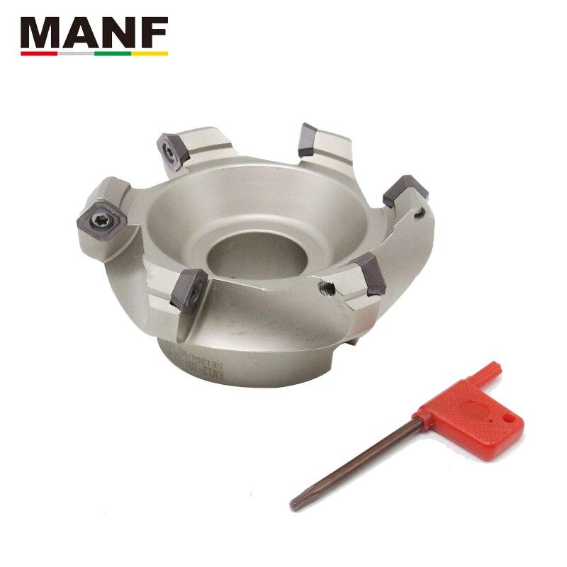 Cortador de trituração da cara de manf KM12-50/63/80/100/125/160/200/250 45 graus de eficiência elevada indexável do moinho de extremidade da cara para seht1204
