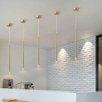 Simple gold led Pendant lights AC90-260V modern long Pendant lights lighting living room dining bar light