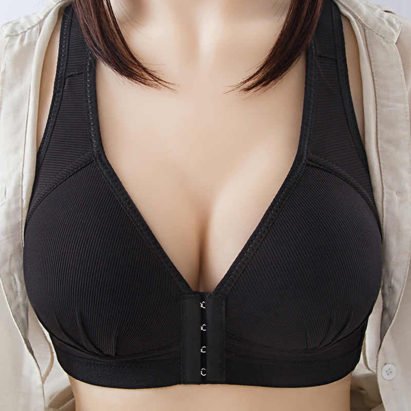 Womens Wireless Front Buckle Push Up Bra Fastening Soft Breathable Cup Plus Size
