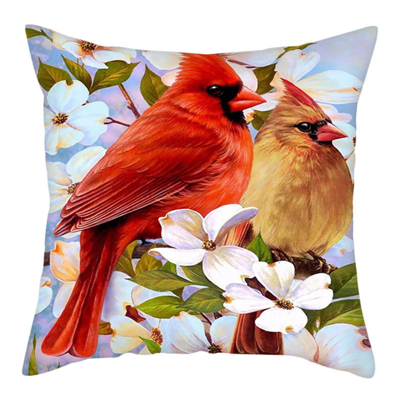 Printed Cushion Covers Pillow Cases Home Decor Or Inner Red Cardinal Bird Donnadivat Com