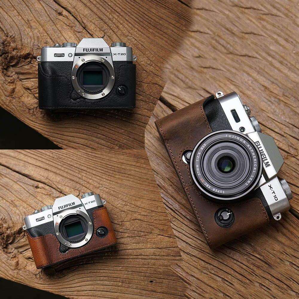 AYdgcam Genuine Leather Camera case Handmade Video Half Bag For Fuji Fujifilm XT10 XT20 XT30 Retro Vintage Bottom Case-in Camera/Video Bags from Consumer Electronics