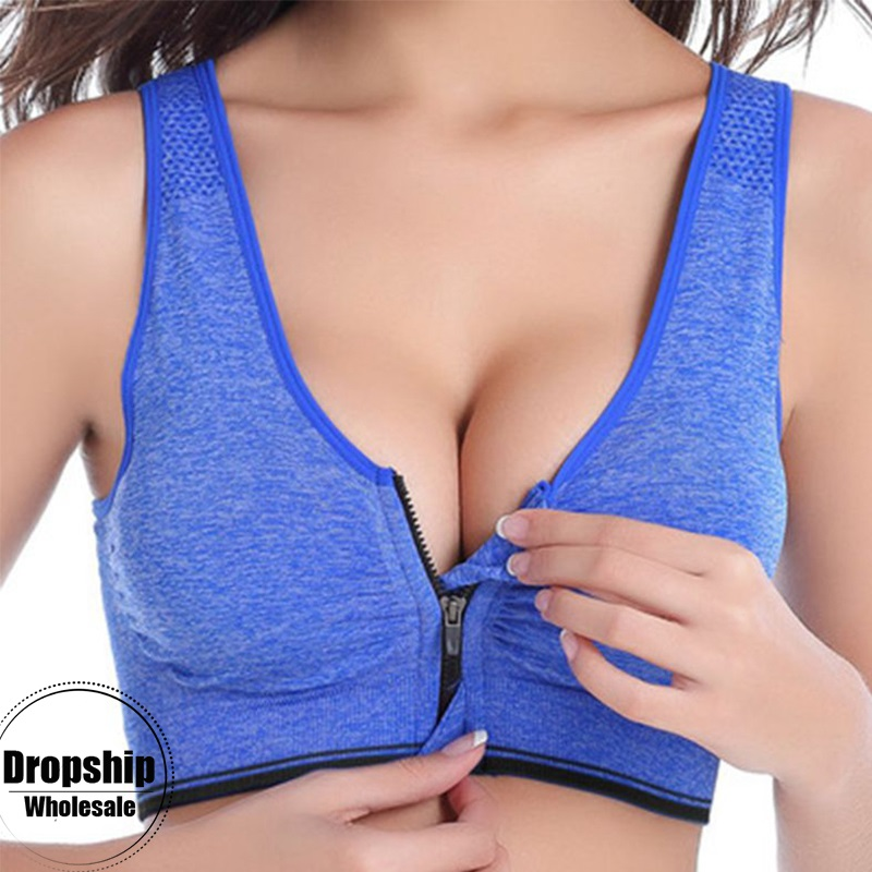 2XL-S Sports Yoga BH Bra For Women Front Zipper Top SEXY Fitness Push Up Gym Running Shockproof Shirt Workout Fast Dry Vest 2019