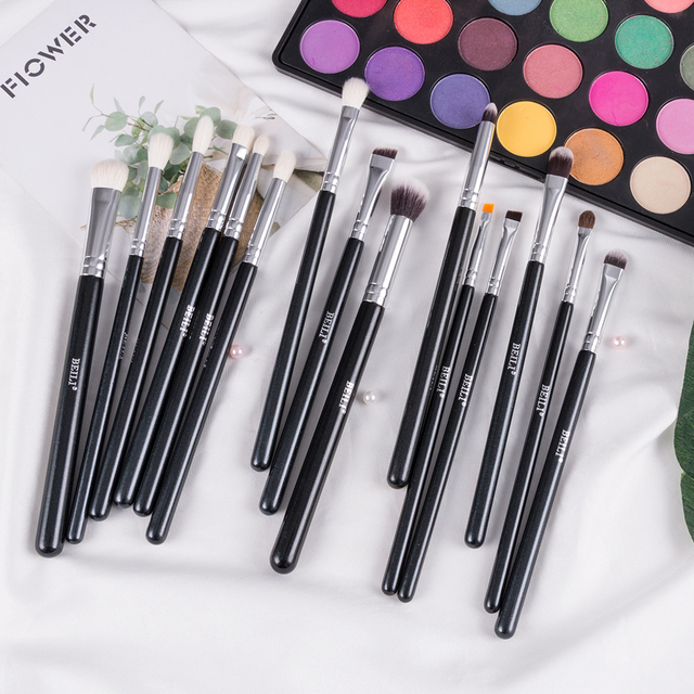 BEILI Black 15Pcs Makeup brushes Natural Goat Pony hair Eye shadow Blending Eyeliner Eyebrow Smokey shade brush set 2