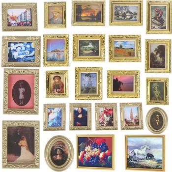Vintage 1:12 Scale Photos Painting Mural Wall Picture for 1:12 Dollhouse Miniature Miniaturas Casa De Munecas