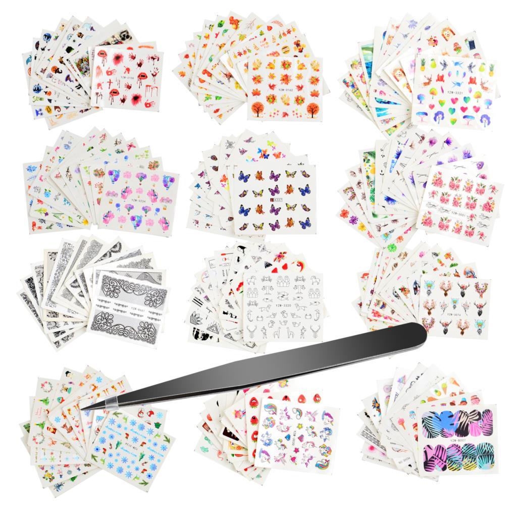 1 пинцет + 12 наклейка на ногти водная цветок Переводные картинки с бабочками стикер много ногтей тату Сделай Сам Полный слайдер украшения для маникюра Стикеры и наклейки      АлиЭкспресс