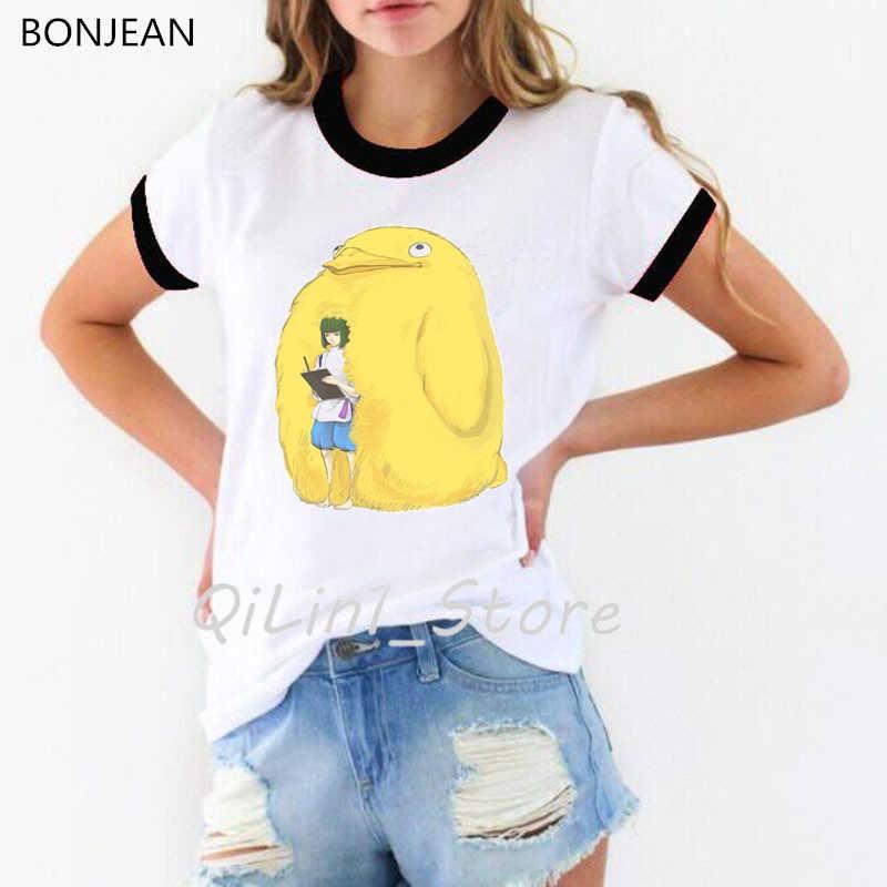 Duch od obiektu t koszula kobiety japońskie Anime Studio Ghibli Totoro no face druku Hayao Miyazaki tshirt femme ubrania kobiet t-shirt