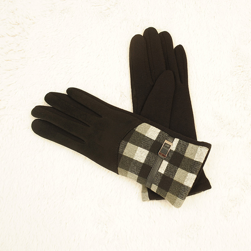 New Autumn And Winter Plus Velvet Warm Suede Plaid Gloves Ladies Points Fashion Riding Gloves