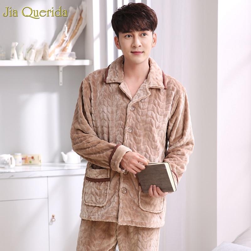 Mens Warm Pajamas Set Winter Soft Flannel Long Sleeves Pants Cardigan Pocket Elastc Waist Khaki Leisure Homewear Sleep Clothing