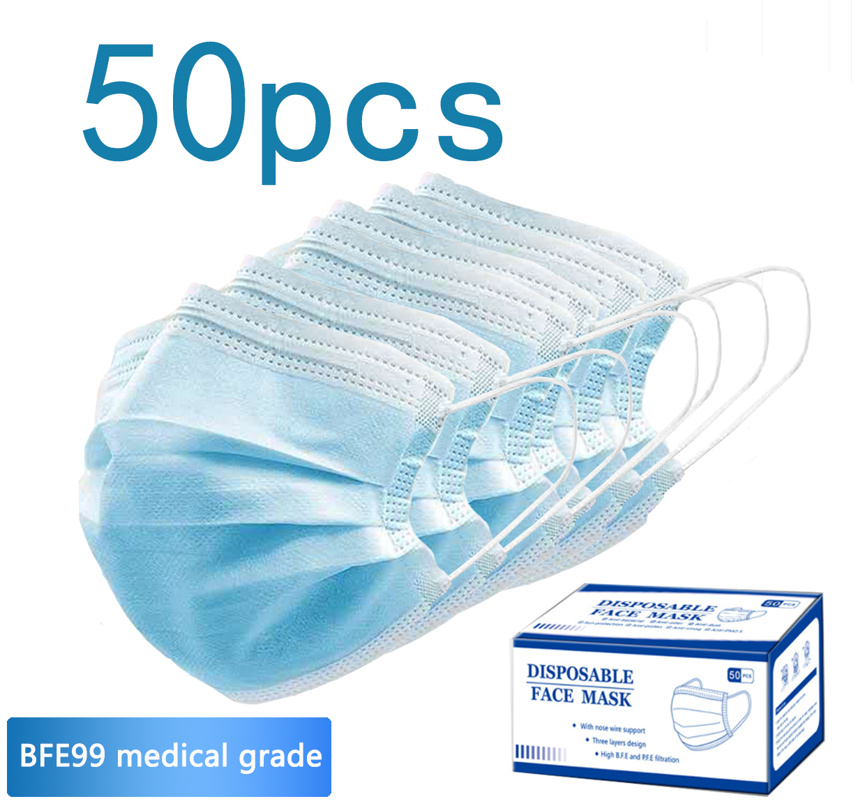 CE FDA standard stock inventory  Express right away   disposable Three -Ply of surgical face mask  face protection mask