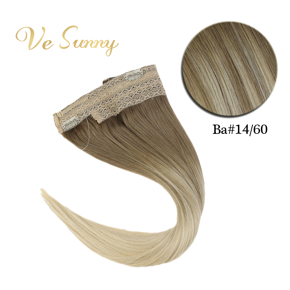 VeSunny One Piece Invisible Halo Hair Extensions Real Human Hair Flip Wire With 2 Clips On Balayage Brown Ombre Blonde #14/60