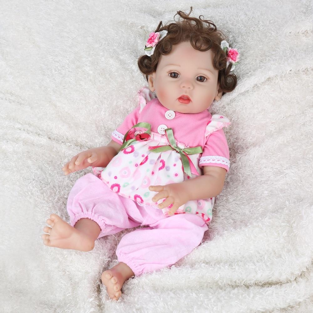mini 45cm 18'' New unique bebe reborn all vinyl doll with 1pcs magnet pacifier lovely bath toys for children on Christmas gift