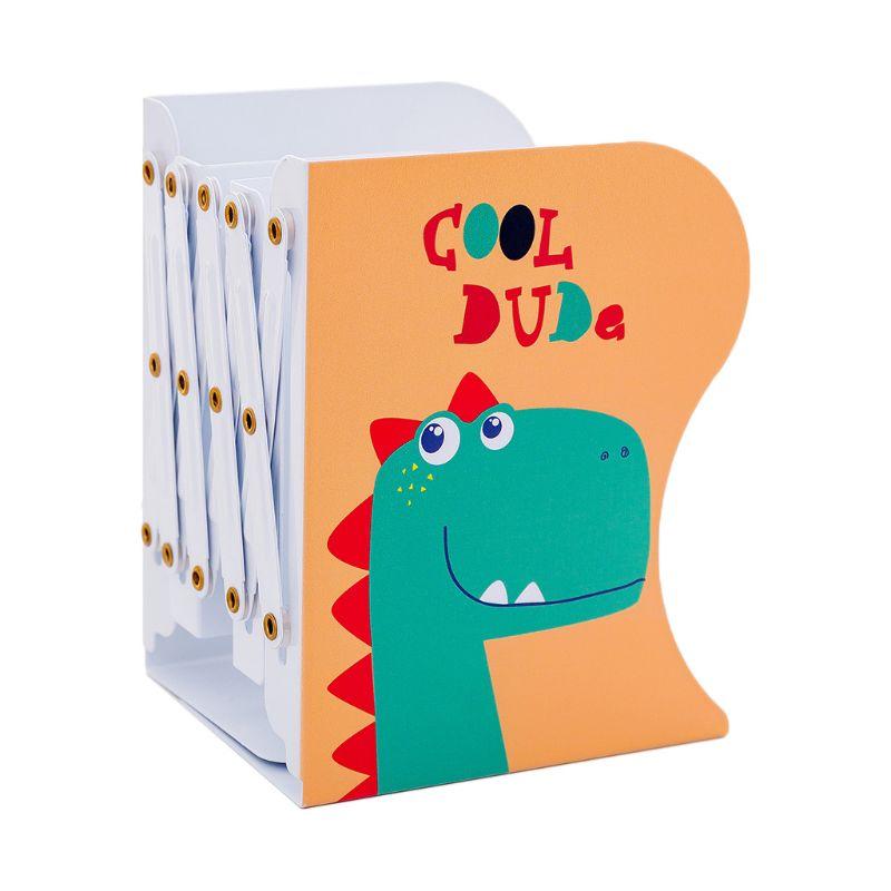 Dinosaur Metal Retractable Bookends Support Stand Holder Shelf Desk Organizer