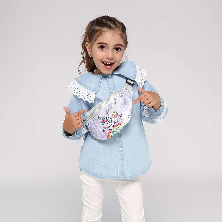 Unicórnio barriga banana bum quadril peito cinto saco da cintura para crianças menina criança feminino fanny pacote bolsa feminina murse rim beltbag