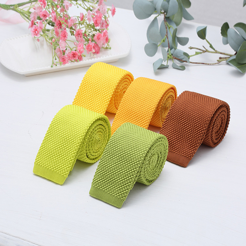Fashion 5cm Knit Skinny Tie Green Red Colorful Solid Slim Neck Ties For Men Casual Business  Woven Necktie Narrow Accessories