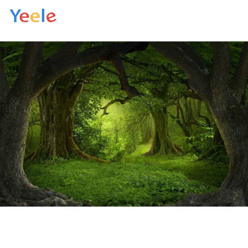 DaShan 12x8ft Fairytale Jungle Backdrop Tropical Jungle Forest Tree Woodland Baby Shower Photography Background Kid Girl Newborn Baby Woodland Birthday Party Decor Fantasy Photo Studio Props