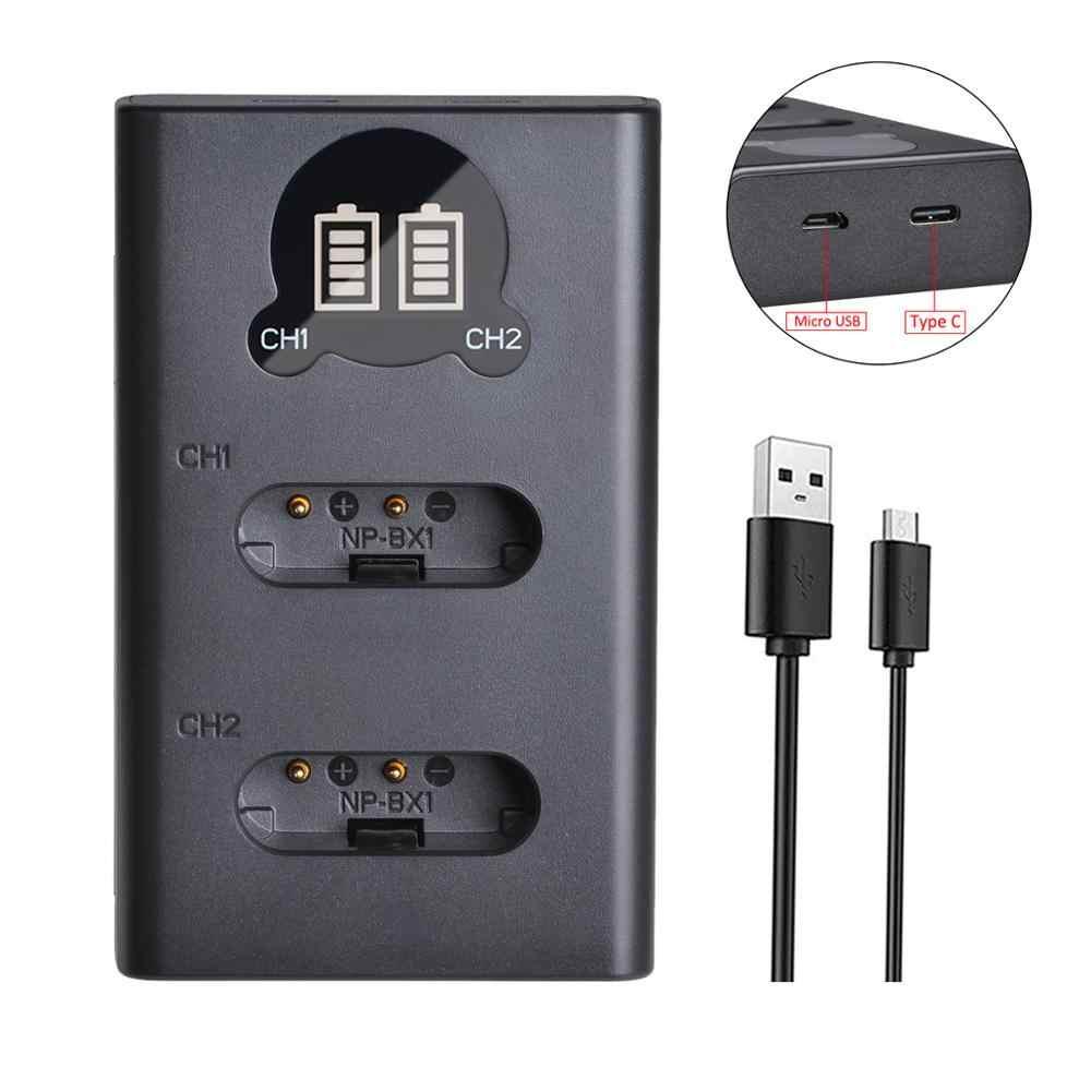 2 uds 1860mAh NP-BX1 NP BX1 batería + cargador con el tipo C para Sony DSC RX1 RX100 AS100V M3 M2 HX300 HX50 GWP88 AS15 WX350
