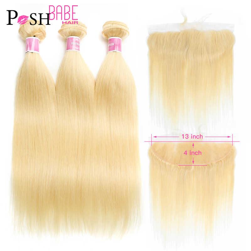 613 Bundle mit Frontal Honig Blonde Farbige 13x6 Spitze Frontal mit Gerade Menschliches Haar Extensions 2 3 4 brasilianische Haar Bundles