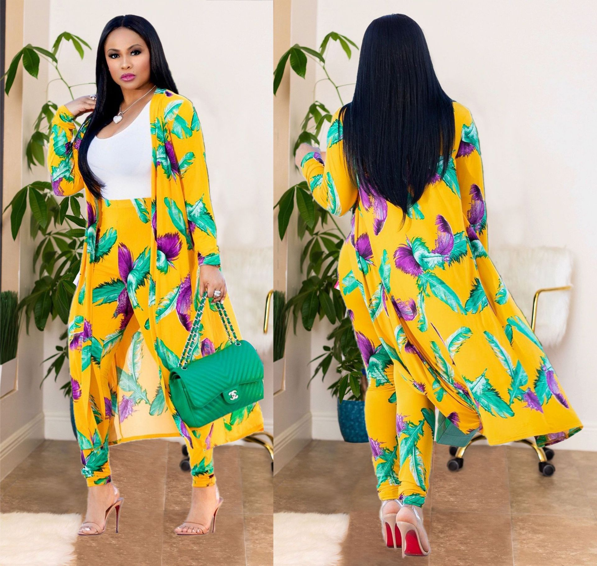 Europe And The United States New Fashion Temperament Commuter Sexy Print Cardigan Long-sleeved Two-piece Nightclub Clothing