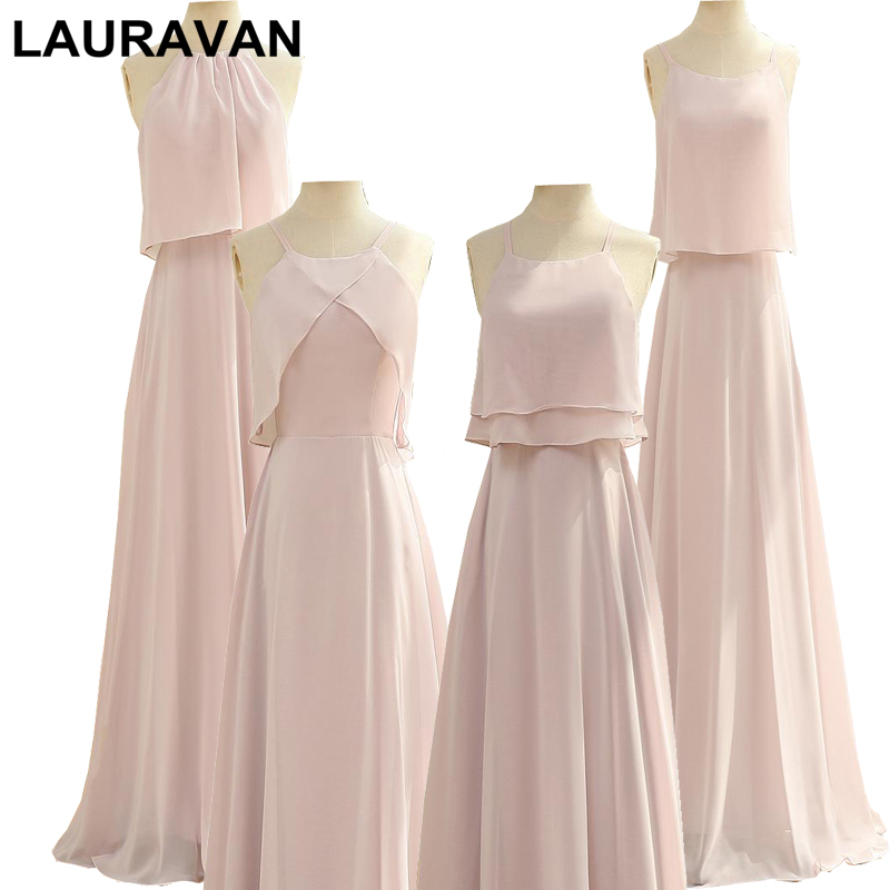 Women Cheap Pale Light Pink Short Chiffon Bridesmaid Ladies A Line Bridemaid Sister Of The Bride Party Dresses 2020 Size 8